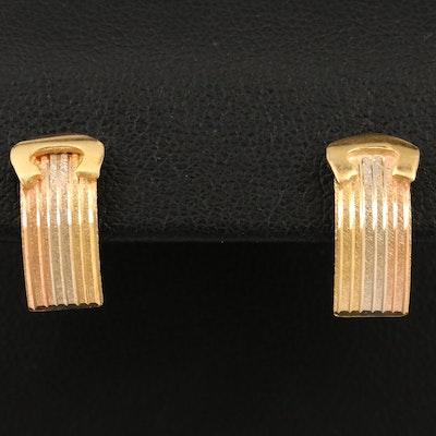 18K Tri-Colored Gold Drop Earrings