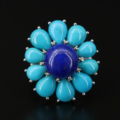 Sterling Silver Lapis Lazuli and Turquoise Ring