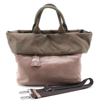 Prada Bambu Nappa Leather and Olive Tessuto Nylon Reversible Two-Way Tote Bag