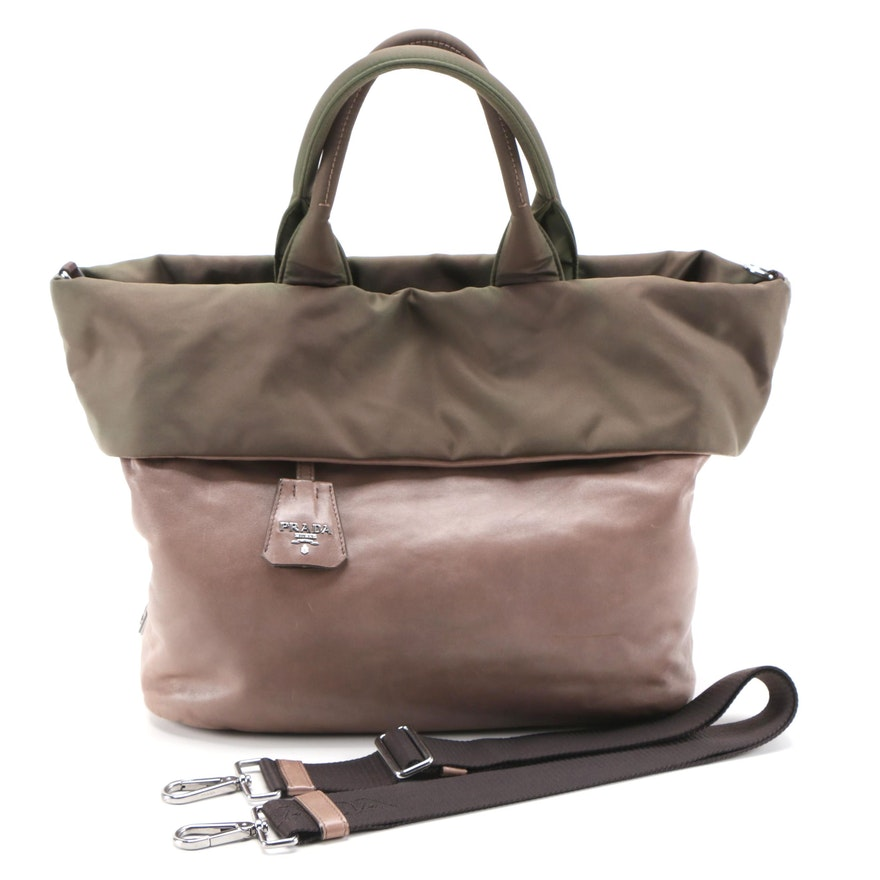 Prada Bambu Nappa Leather and Olive Tessuto Nylon Reversible Two-Way Tote Bag