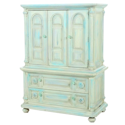 Farmhouse Style Distressed Armoire, Contemporary