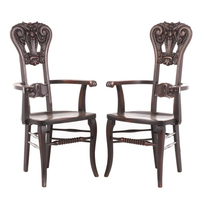 "Pair of Mask Carved Birch ""North Wind"" Armchairs, Early 20th Century"