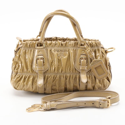 Prada Gaufre Two-Way Leather Satchel in Vernice Flax Leather