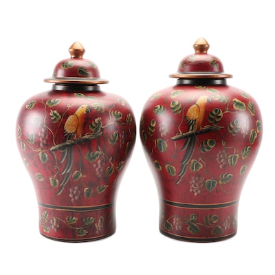 Chinese Parrot and Grape Vine Decorated Ceramic Ginger Jars