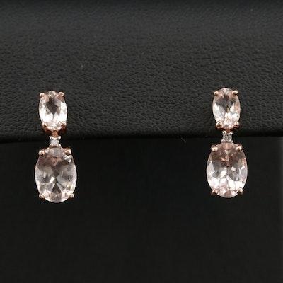 10K Rose Gold Morganite and Diamond Drop Earrings