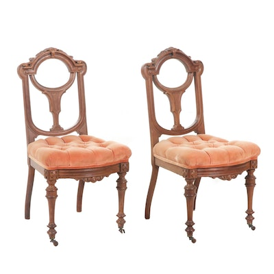Victorian Walnut Side Chairs with Button Tufted Seats, Late 19th/Early 20th C.
