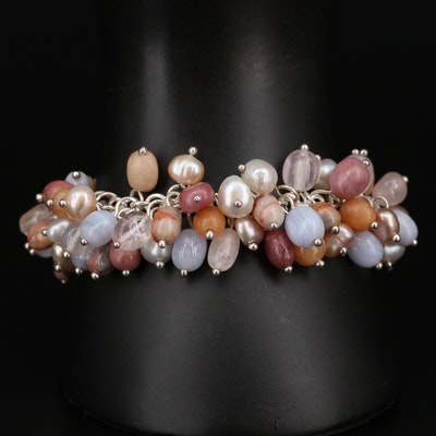 Sterling Silver Bracelet with Pearl, Lace Agate, and Rose Quartz