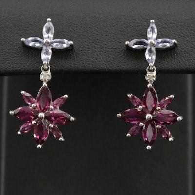10K Rhodolite Garnet, Tanzanite, and Diamond Flower Drop Earrings