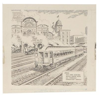 John Fleming Gould Ink Illustration of Railroad Station, Mid 20th Century