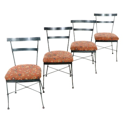 Four Metal Frame Upholstered Patio Side Chairs