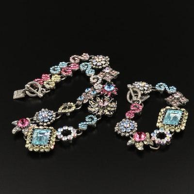 Rodrigo Otazu Rhinestone Necklace and Bracelet Set