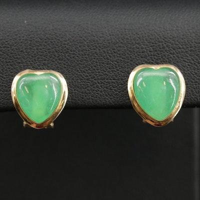 14K Jadeite Heart Earrings
