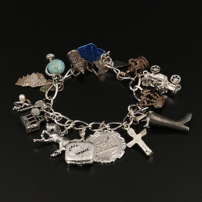 Charm Bracelet with Connemara Marble and Sterling Silver Charms