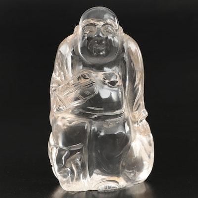 East Asian Hand Carved Rock Crystal Quartz Buddha Figurine