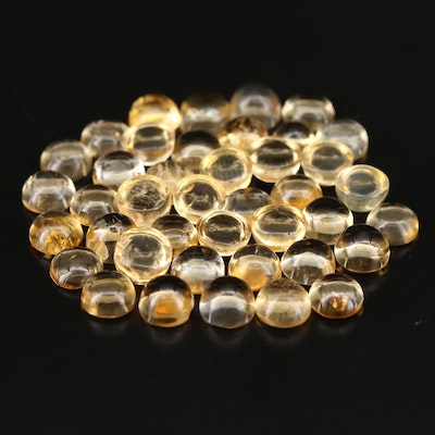 Loose 25.28 CTW Round Cabochon Citrine Selection