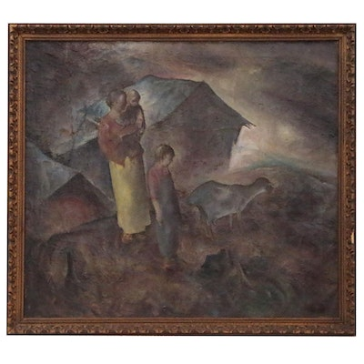 John Edward Costigan Pastoral Genre Oil Painting, Early to Mid 20th Century
