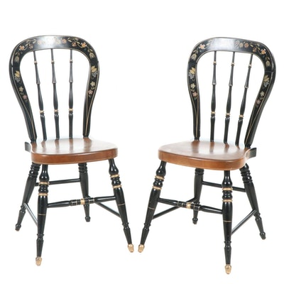 Ethan Allen Stencil-Painted Side Chairs, Late 20th Century, Pair