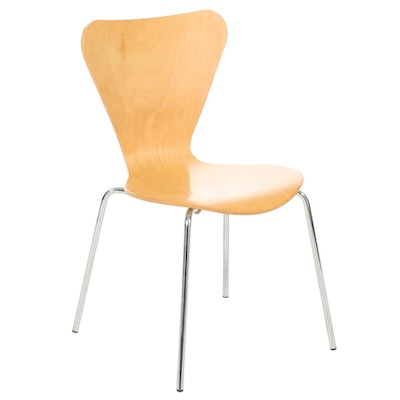 Arne Jacobsen Style Bentwood Shell Chair with Silver Chrome Rounded Legs