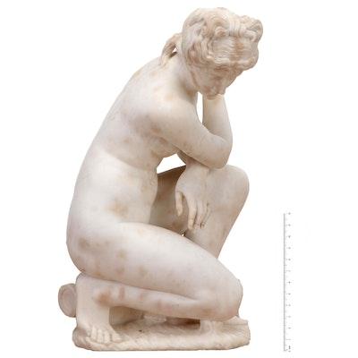 "Marble Statue of ""Crouching Venus,"" 19th Century"