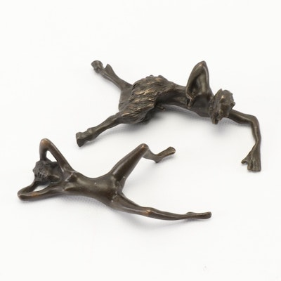 Erotic Patinated Brass Sculptures After Franz Bergman