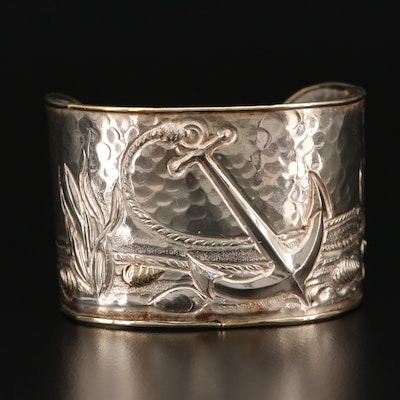 Sterling Silver Nautical Motif Cuff Bracelet