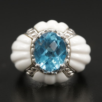 Sterling Silver Blue Topaz and White Resin Ring