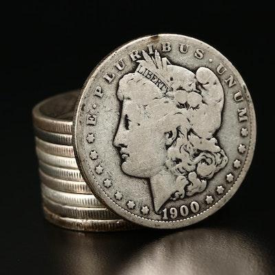 Ten Morgan Silver Dollars, 1879 to 1902