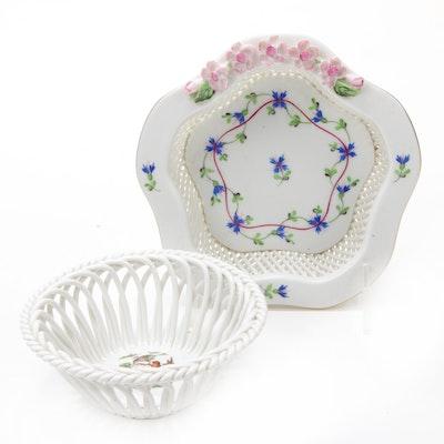 "Herend ""Rothschild Bird"" and ""Blue Garland"" Open Weave Porcelain Basket Bowls"