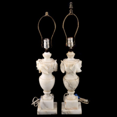 Neoclassical Style Urn Form Alabaster Table Lamps, Mid-20th Century
