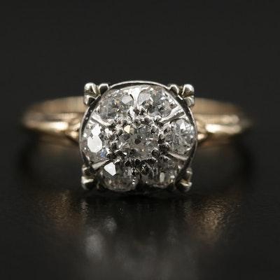 Retro Palladium 0.70 CTW Diamond Cluster Ring