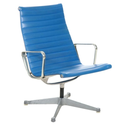 Eames for Herman Miller Aluminum Group Blue Vinyl Upholstered Chair, 1960s