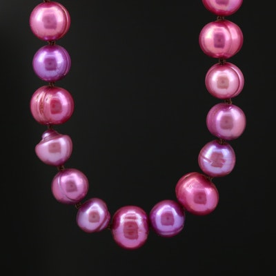 Purple Pearl Necklace with 14K Gold Clasp
