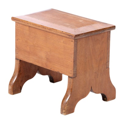American Primitive Walnut Box Stool, 19th Century