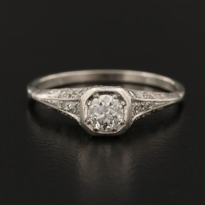 Edwardian Platinum Diamond Openwork Ring