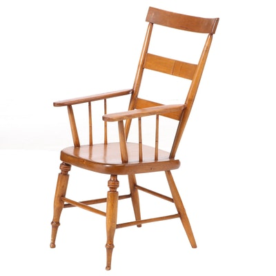 American Primitive Ladderback Armchair, 19th Century