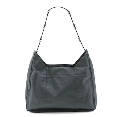 Prada Dark Green Topstitched Nylon Shoulder Bag with Panel Link Strap