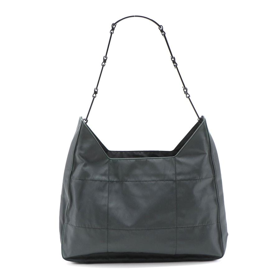 Prada Dark Green Topstitched Nylon Shoulder Bag with Panel Link Strap