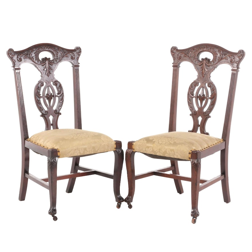 Chippendale Style Mahogany Upholstered Side Chairs, Early 20th Century