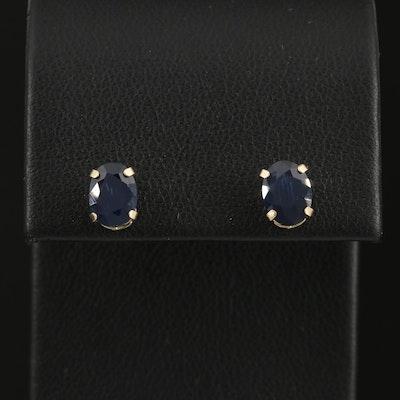 14K Gold 2.00 CTW Sapphire Stud Earrings