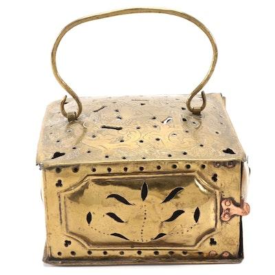 American Brass Pierced Foot Warmer, 18th Century