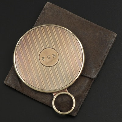 Cartier Engine-Turned 14K Yellow Gold Pocket Mirror, Early 20th Century