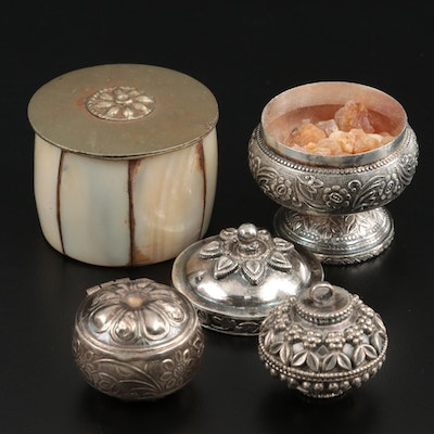 Sterling, 800 Silver, Silver Tone, and Shell Inlaid Boxes with Frankinsence