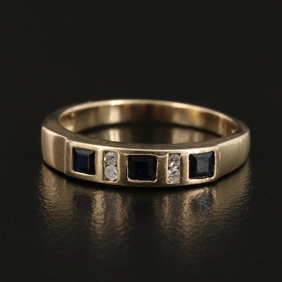 10K Gold Sapphire and Diamond Band