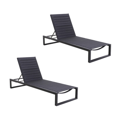 "Case by Matthew Hilton ""Eos"" Chaise Patio Lounge Chairs in Black"