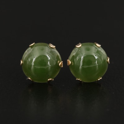 14K Gold Nephrite Earrings