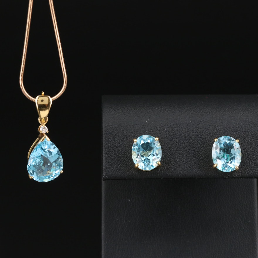 18K Topaz Stud Earrings and Enhancer Pendant with 14K Chain and Diamond Accent