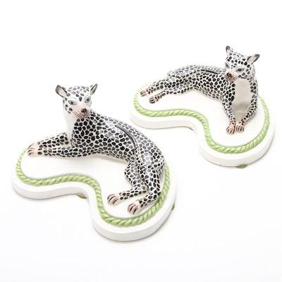 Mottahedeh Italian Porcelain Leopard Figurines