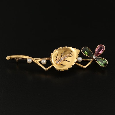 Vintage Tourmaline, Pearl and Diamond Foliate Brooch with 18K Bezel Accents