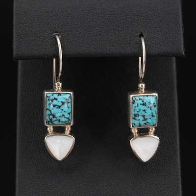 Sajen Sterling Silver Turquoise and Mother Of Pearl Earrings