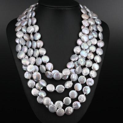 Endless Knotted Pearl Necklace